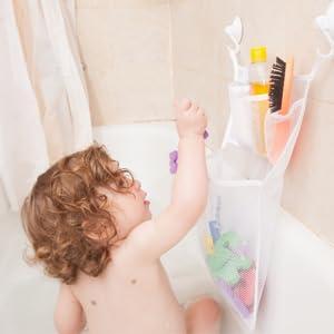 Longsing LongsingBadespielzeug-Tasche Aufbewahrung Mesh Netz Bad Spielzeug Organizer Baby Bath Toy Organizer Net mit 2 Saugn/äpfen an der Wand h/ängen