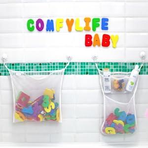 bath toy holder toy storage quick dry net mesh organizer bathtub organizers kids bathroom set