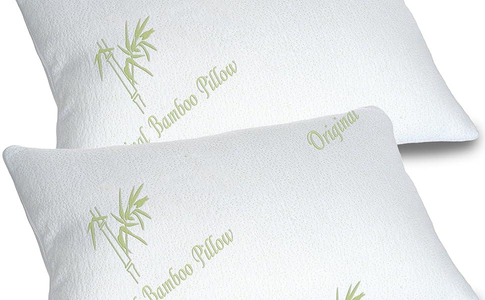 Amazon Com Bamboo Pillows For Sleeping Set Of 2 Standard Queen