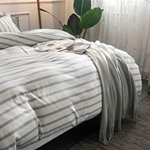 Add A Touch Of Modern Luxury To Your Room With This Pretty Stripe Duvet  Cover Set That Is Crafted From Sumptuously Soft Cotton. With A Hint Of Grey  And ...