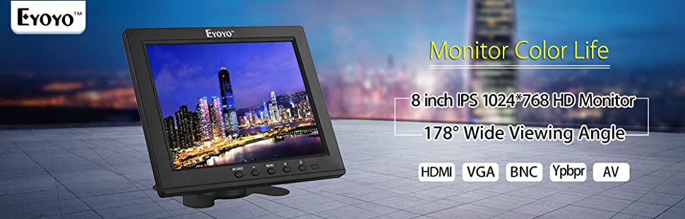 Eyoyo 8 Inch HDMI Monitor 1024x768 Resolution Display Portable 4:3 TFT LCD  Mini HD Color Video Screen Support HDMI VGA BNC AV Ypbpr Input for PC CCTV
