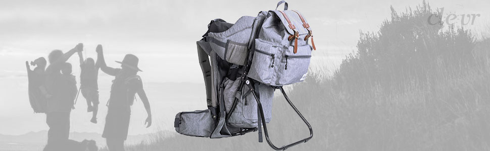 Clevr Baby Carrier Child Backpack for Hiking Camping with Detachable Bag Gray
