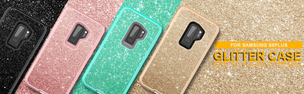 WeLoveCase S9 Plus Case, Galaxy S9 Plus Case Glitter Sparkle Design Three Layer Shockproof 3 in 1 Hybrid Heavy Duty Protective Cover Case for Samsung ...