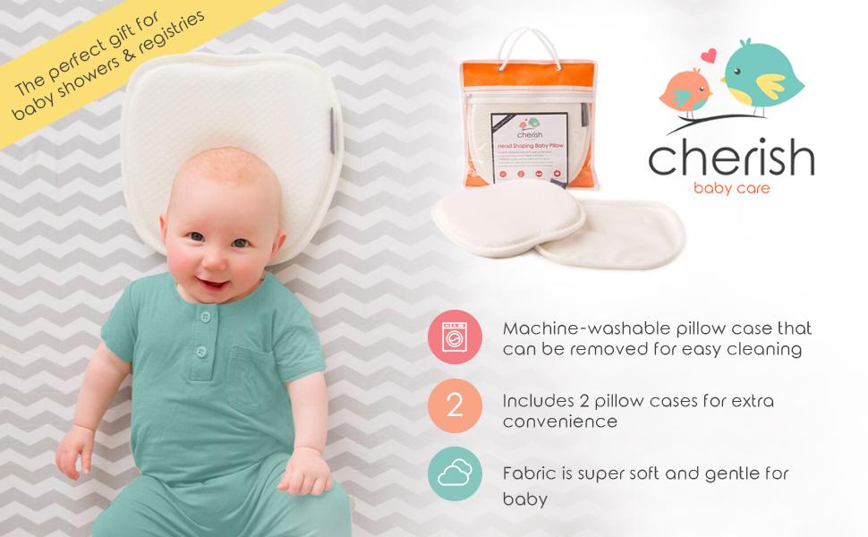 Cherish Baby Care Plagiocephaly Happy Baby flat head pillow perfect gift machine washable