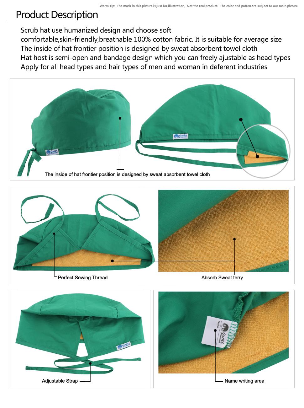 ead9bfbc6ca0c Amazon.com  GUOER Women s and Men s Scrub Cap Scrub Hat One Size ...