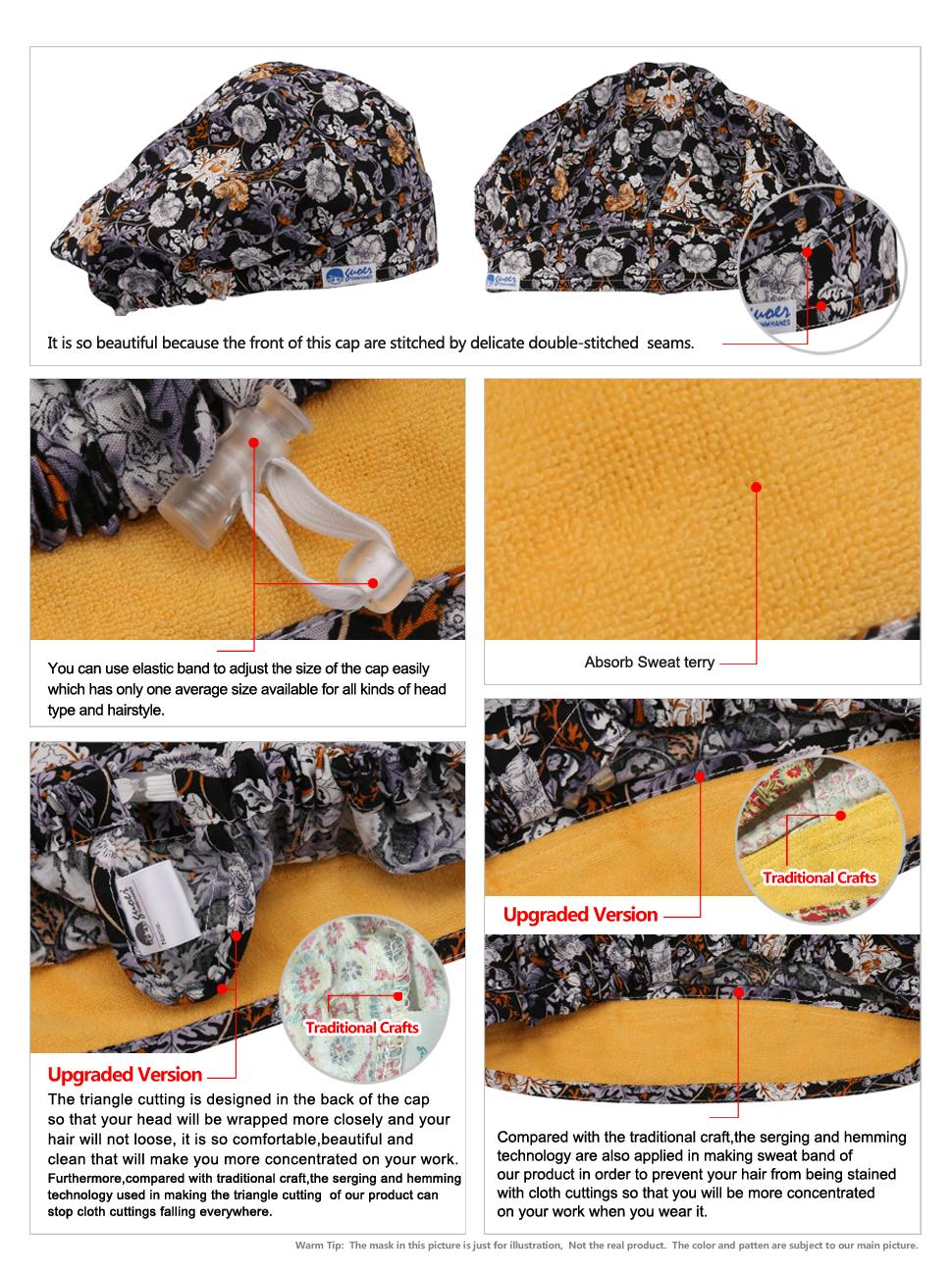 b660a207de4 Amazon.com  GUOER Scrub Hat Bouffant Scrub Cap One Size Multi Color ...