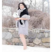 Caracilia Womens Faux Fur Coat Wedding Cloak Cape Shawl for Evening Party
