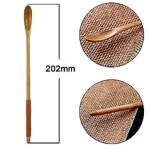 Amazon.com: Cuchara larga de madera, 4 piezas estilo coreano ...