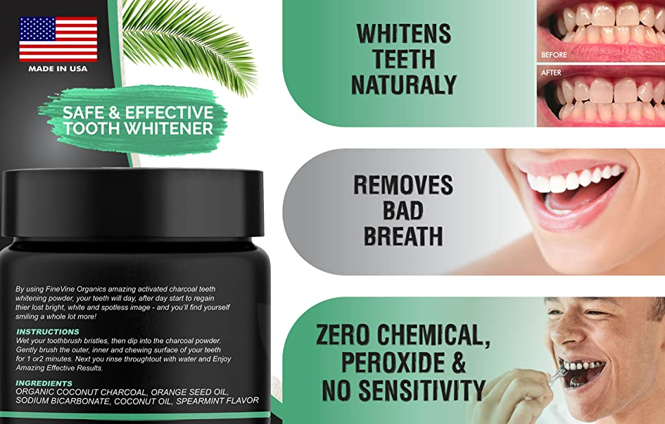 Amazon Com Charcoal Teeth Whitening Powder Made In Usa