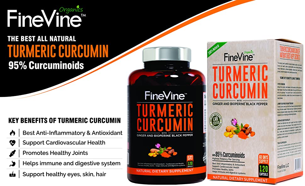 Turmeric Curcumin with BioPerine Black Pepper and Ginger - 60/120 Capsules