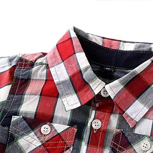 100% cotton boy's long sleeved tartan button down shirts