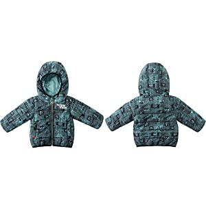 Toddler Baby Boys Car Printed Active Jackets with Hooded Collar Full Zip Thermal Winter Warm Clothes