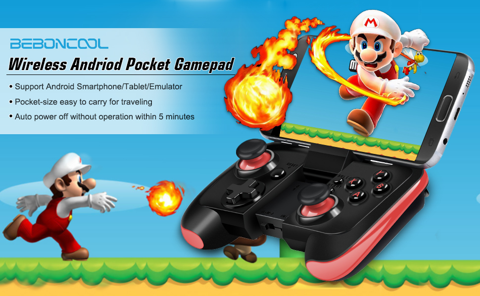 BEBONCOOL Android Wireless Game Controller for Android Phone/Tablet/Samsung  Gear VR/Game Boy Emulator, Works with Bluetooth (Red)