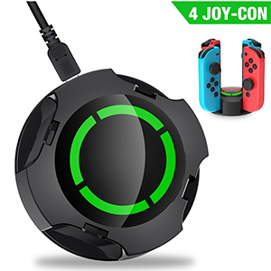 Charger Dock for Joy-Con Controller Support 4 Joy-con Controllers, Charger Station for Joy-Con Type-C Charging Cable Individual LED Indicator (Black)