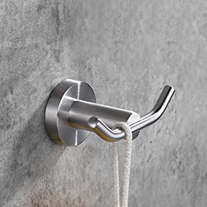 Amazon Com Desfau Double Robe Hook 304 Stainless Steel Coat And Towel Hooks For Bathroom Wall Mounted Brushed Nickel Home Improvement