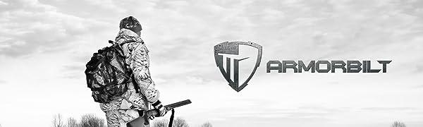 Armorbilt logo man hunting black and white
