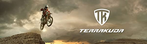 Terrakuda logo on cloudy background man on motorcycle jumping off a cliff.