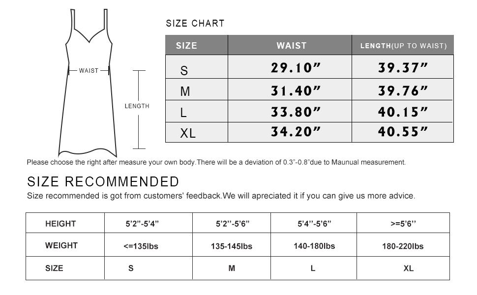 maxi dress size charts