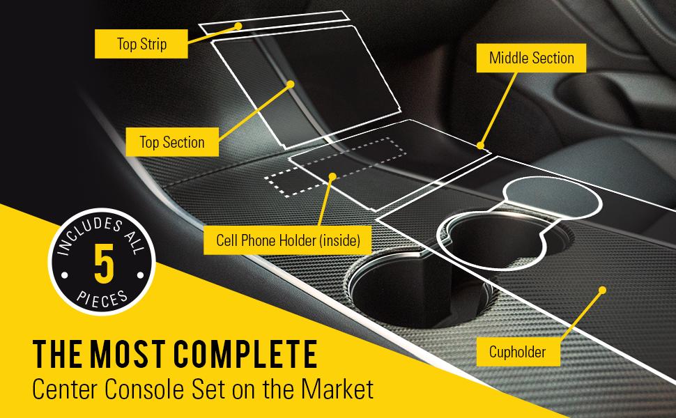 Carbon Fiber Black HumanFriendly Tesla Model 3 Center Console Wrap Kit w//Extra Cupholder Piece by EV Armor
