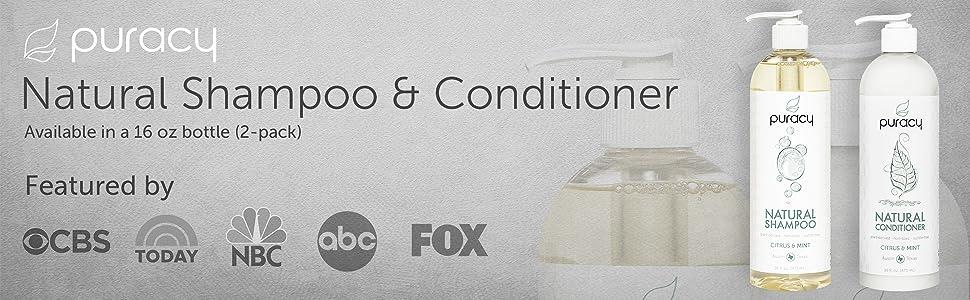 Puracy Natural Shampoo and Natural Conditioner Set