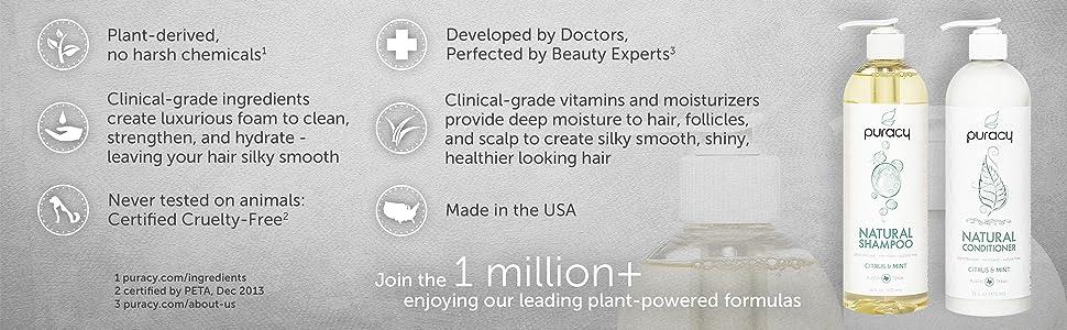 Puracy Natural Shampoo and Natural Conditioner Set Main Features