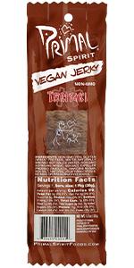 Primal Spirit Vegan Jerky Teriyaki 10 g. Plant Based Protein, Certified Non-GMO No Preservatives