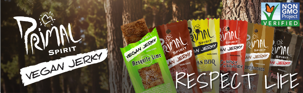 Primal Spirit Vegan Jerky Plant Based Protein Certified Non-GMO No Preservatives