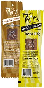 Primal Spirit Vegan Jerky - Soy Energy Protein 10g. Plant Based Protein Hickory Smoked & Texas BBQ