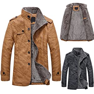 ce38da83e94c 1#---XWDA PU Leather Jacket Men Thicken Fur Lined Coat Warm Stand Collar  Vintage Outwear with Buttons M-4XL