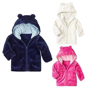 94a5b0c08 Amazon.com  XWDA Baby Boys Girls  Micro Fleece Jacket Lined Hoodies ...