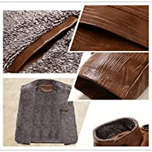 7e137f0b478e XWDA PU Leather Jacket Men Thicken Fur Lined Coat Warm Stand Collar ...
