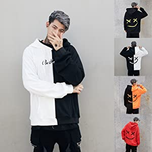 Clearance On Sale Litetao Men Pullover Hoodie Sweater Smile BE Happy Print Patchwork Hip Hop Christmas Costume M, Orange