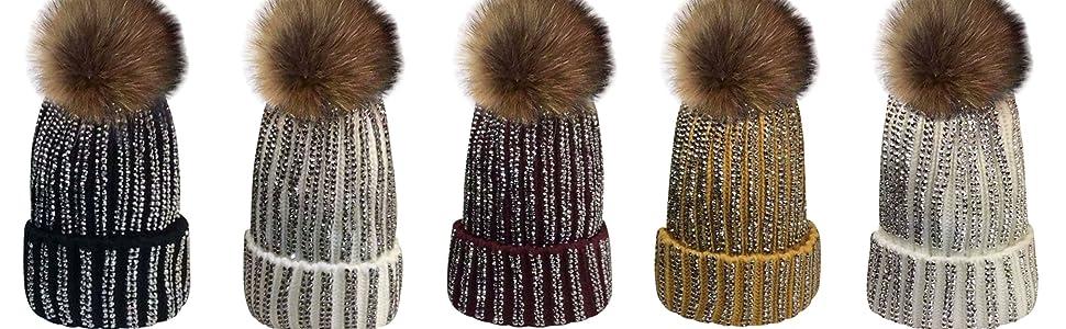 XWDA Toddler Girls Knit Double Pom Winter Beanie Hat