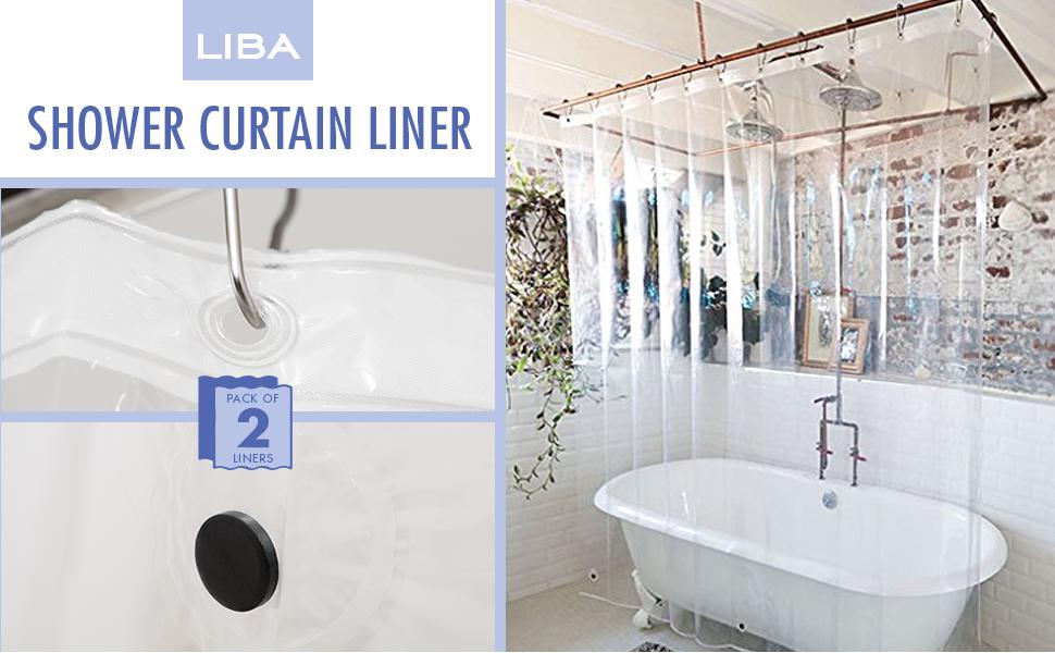 Amazon LiBa PEVA 3G Lightweight Shower Curtain Liner Pack Of 2