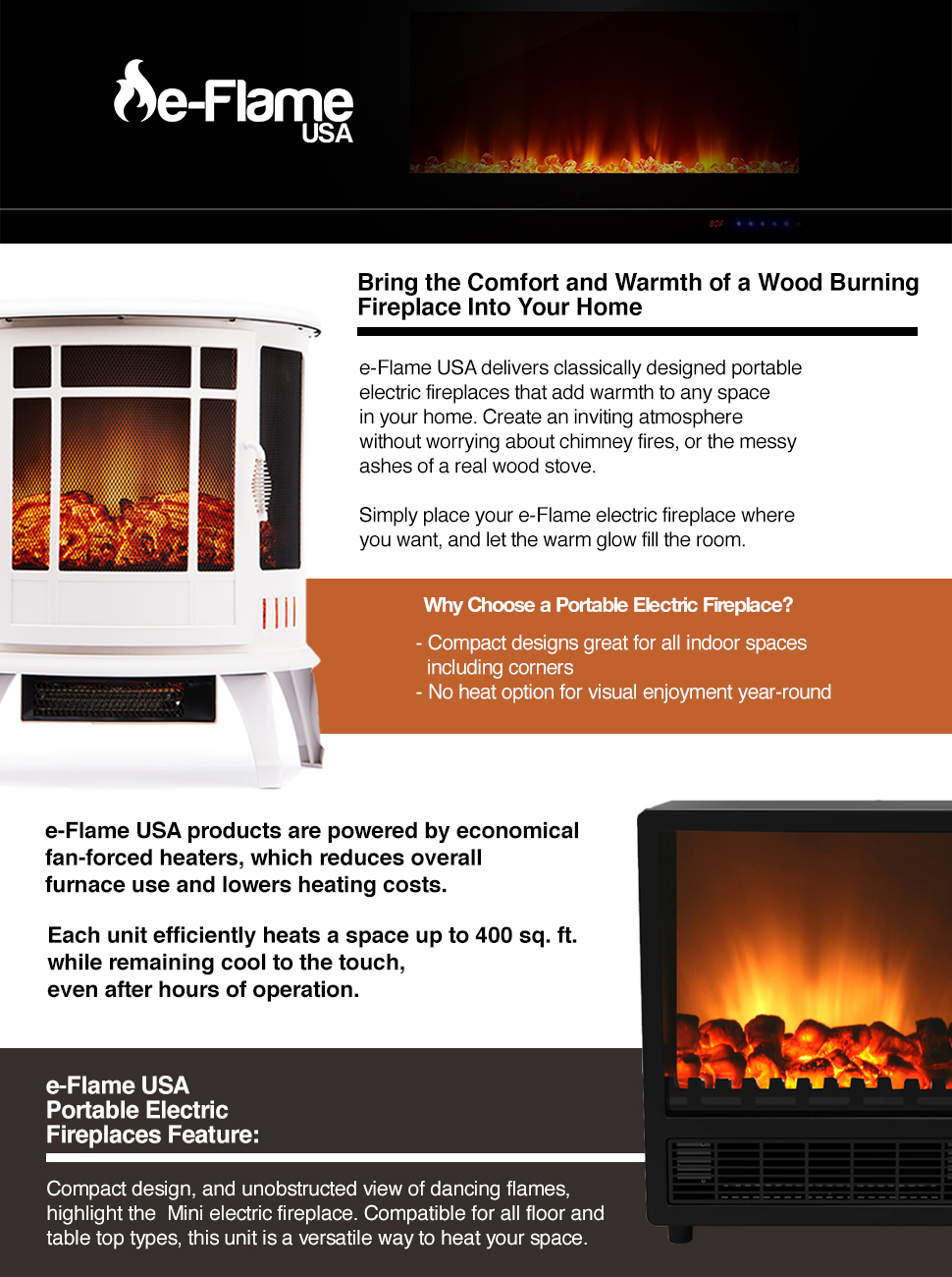 Amazon.com: Rochester Portable Electric Fireplace Stove by e-Flame ...