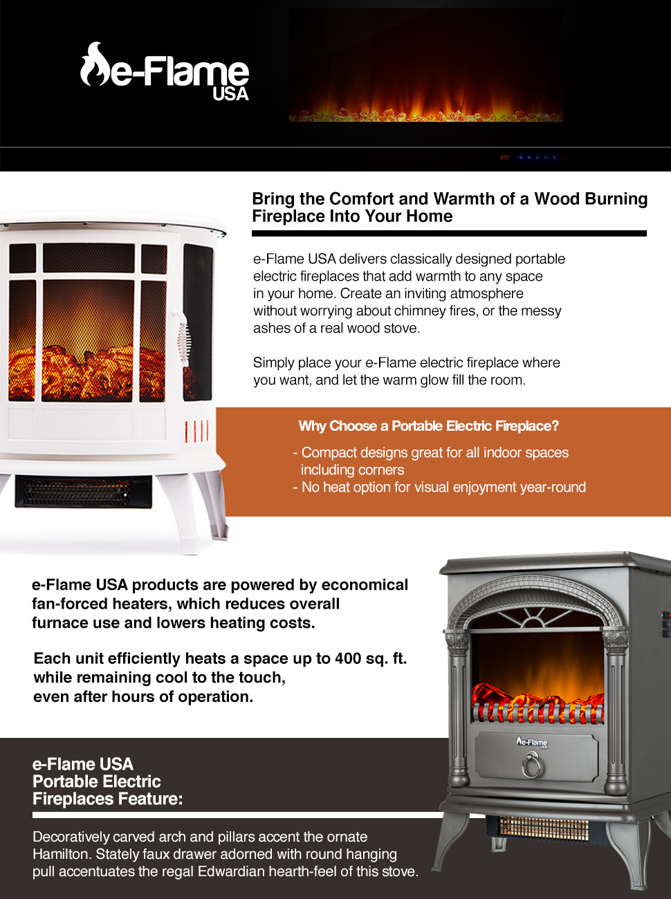 amazon com hamilton portable free standing electric fireplace