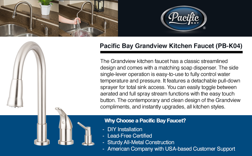 Bellevue Pull Down Kitchen Faucet · Othello Pull Down Kitchen Faucet ·  Grandview Pull Down Kitchen Faucet With Soap Dispenser · Aberdeen Pull Down  Kitchen ...