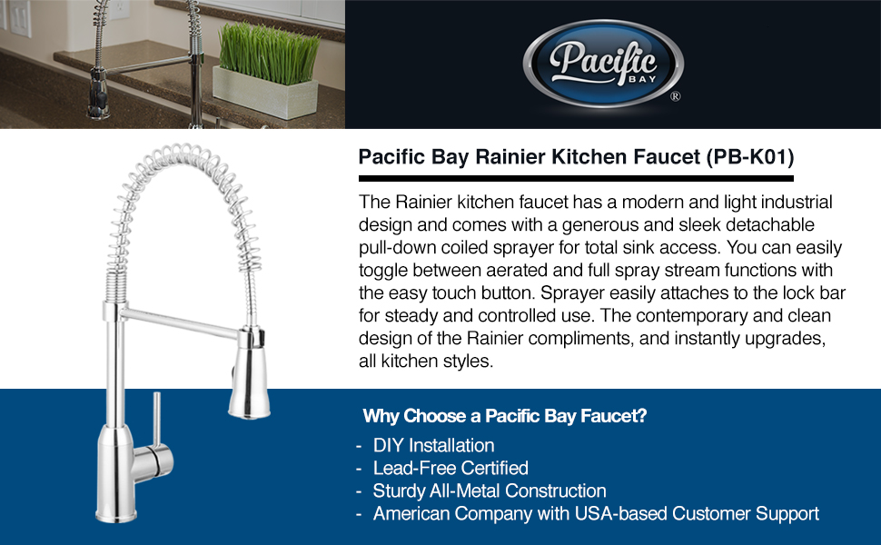 Rainier Pull Down Kitchen Faucet Gooseneck Style (Chrome) by Pacific ...