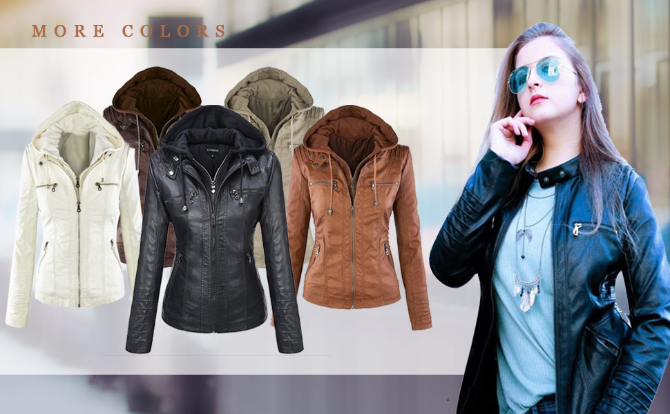 9517fa1ab Seamido Women Faux PU Leather Jacket Removable Hoooded Motocycle Bomber  Biker