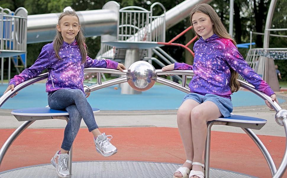 girls galaxy stars hoodies