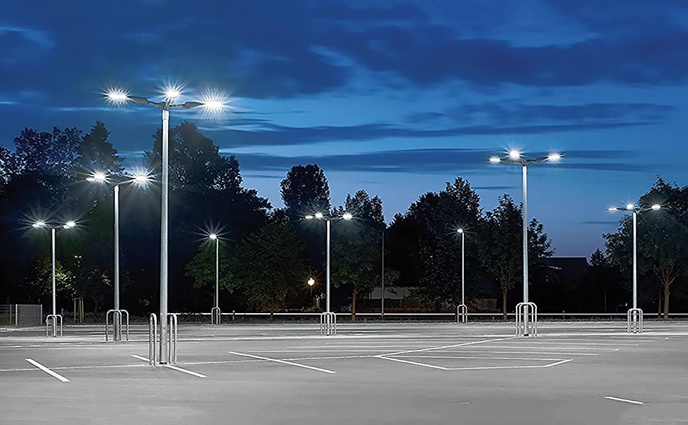 Everwatt 750w Metal Halide Equivalent Replacement 185w Led Outdoor Parking Lot Light With Photocell Sensor Shoe Box Pole Lights 5000k 25000 Lm
