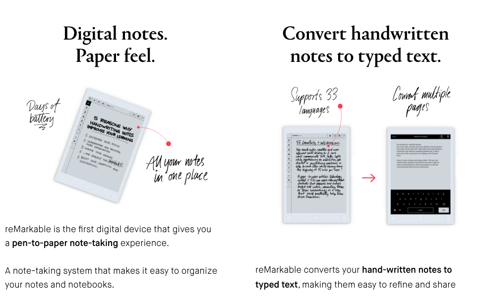 Digital notes, paper feel. Convert handwritten notes to typed text