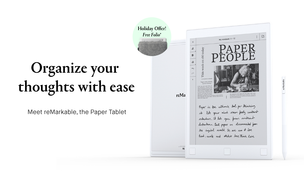 reMarkable, paper tablet, get your brain back, ereader, digital notebook