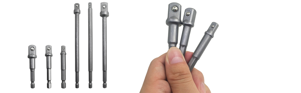 "1//2/"" Drive Socket Adaptor for drills 1//4/"" shank socket driver bit PACK OF 5"