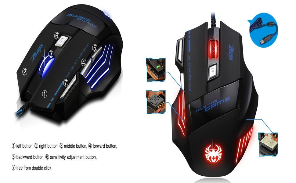 AFUNTA Zelotes Ergonomic 7200 DPI LED Optical Wired Gaming Mouse Mice 7 Buttons Compatible Mac Pro Gamer PC Laptop Desktop Notebook-Black Black(T80) 7HAoKGrmSlur