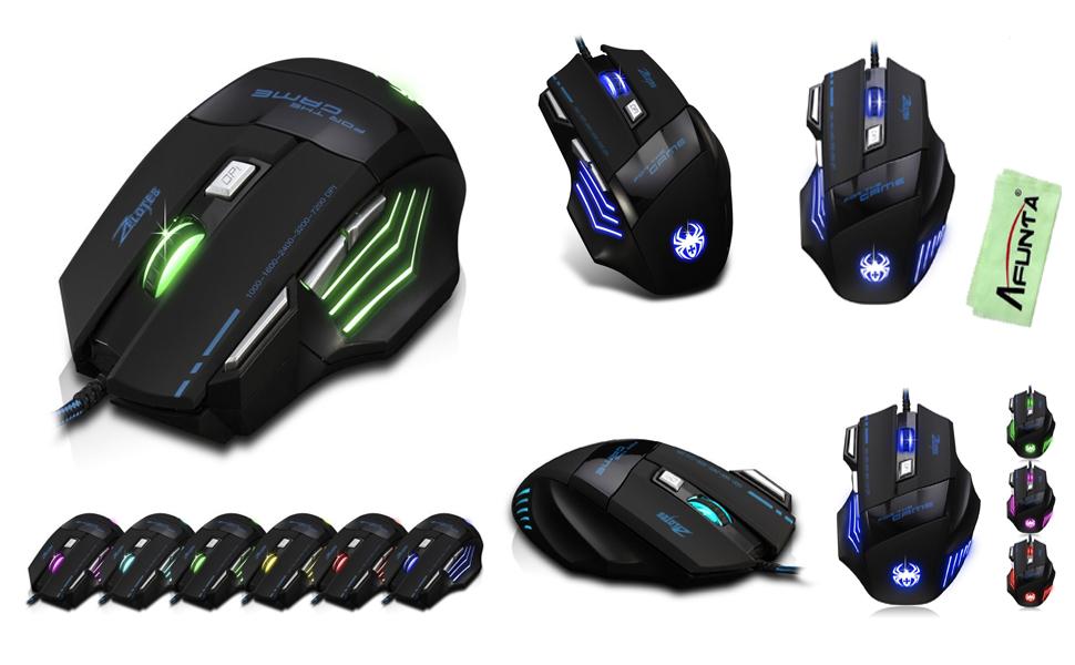 AFUNTA Zelotes Ergonomic 7200 DPI LED Optical Wired Gaming Mouse Mice 7 Buttons Compatible Mac Pro Gamer PC Laptop Desktop Notebook-Black Black(T80) sb2YG6xVT2ux