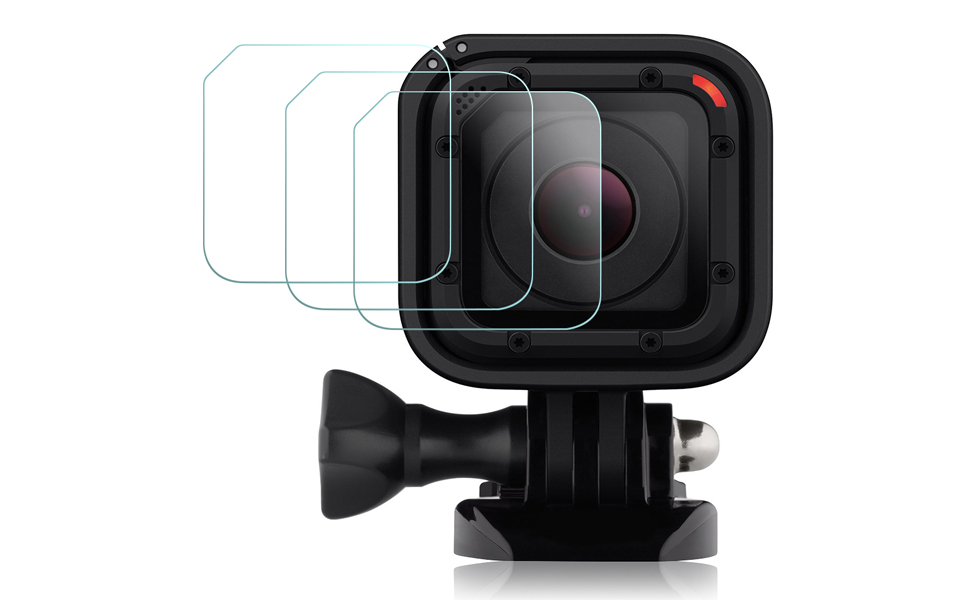 AFUNTA 3 Pack Anti-scratch Water-proof Tempered Glass Hero 4 5 Session Film Accessory Screen Protector for GoPro Hero4 Hero5 Session