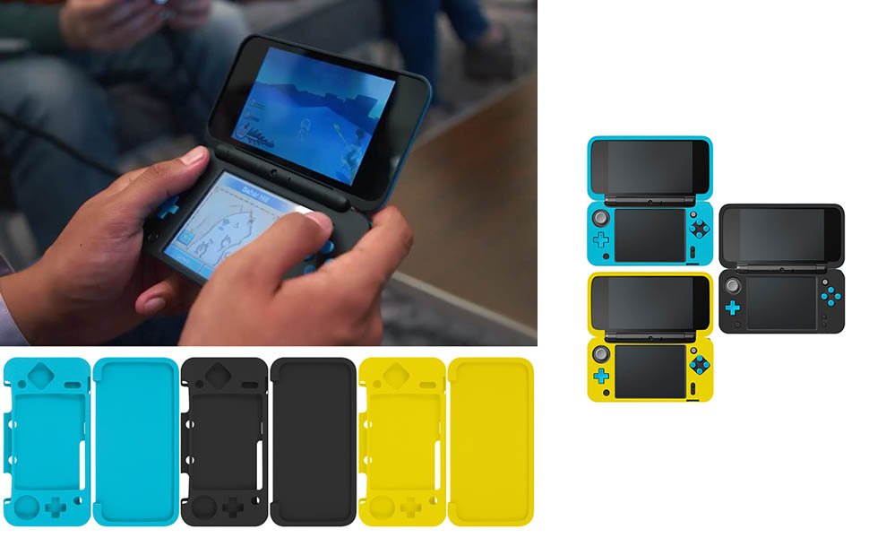 Protective Case Compatible New Nintendo 2DS XL, AFUNTA Set of 3 Anti-Slip Silicone Cover with Comfort Feeling - Black, Blue, Yellow