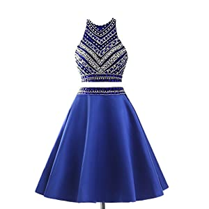 7e97c369237c Meilishuo Two Pieces Beaded Sparkly Prom Ball Gown Short Mini Homecoming Dresses  2 Piece