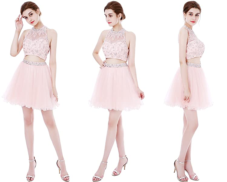 Women\'s Two Pieces Beaded Sparkly Prom Dresses Short Homecoming ...